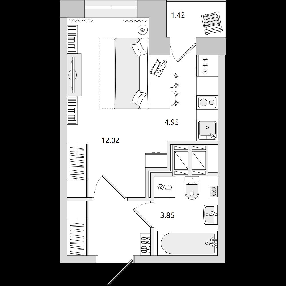 Планировка Студия площадью 25.95 кв.м в ЖК «ЦДС «Приневский»»