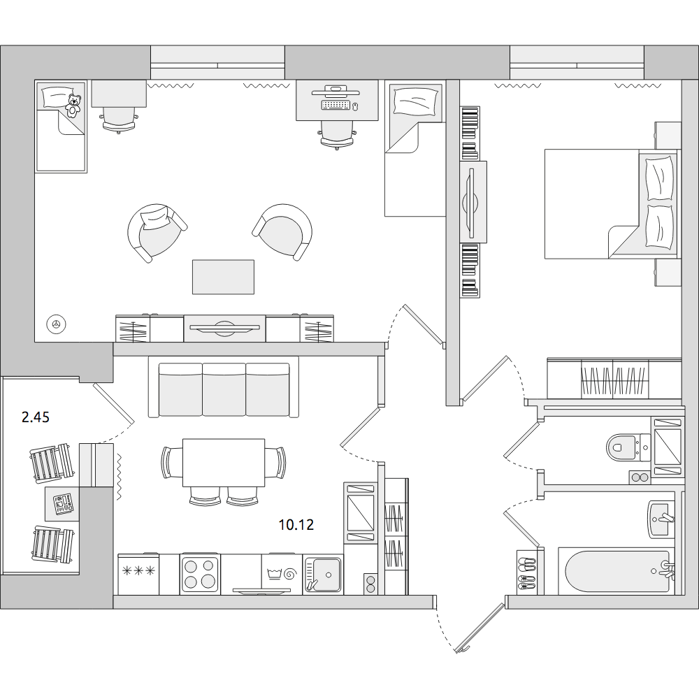 Планировка Двухкомнатная квартира площадью 54.02 кв.м в ЖК «ЦДС «Приневский»»