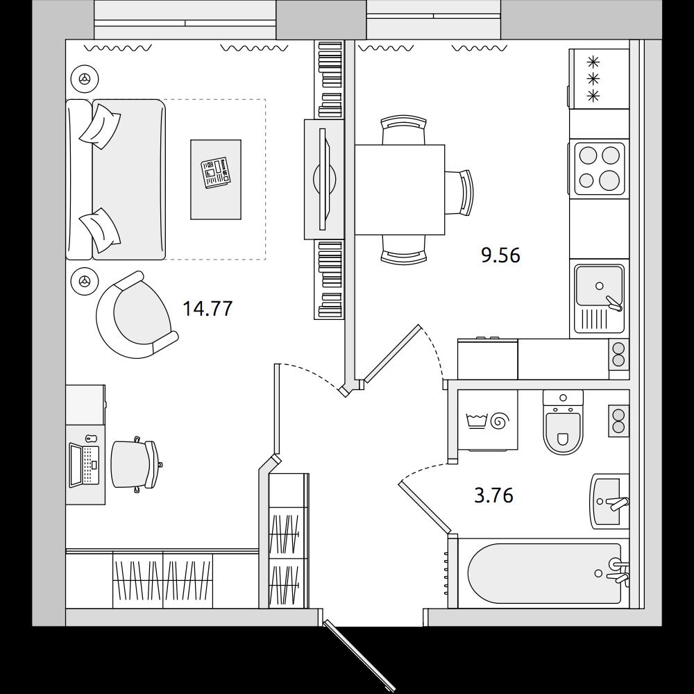 Планировка Однокомнатная квартира площадью 31.31 кв.м в ЖК «ЦДС «Приневский»»