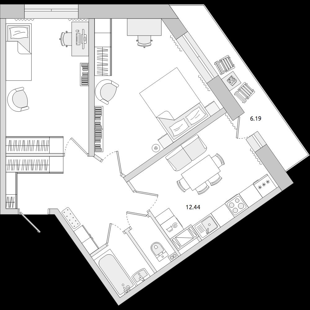 Планировка Двухкомнатная квартира площадью 63.47 кв.м в ЖК «ЦДС «Приневский»»