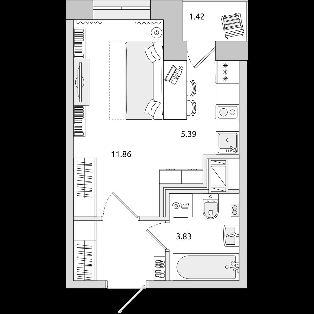 Планировка Студия площадью 26.14 кв.м в ЖК «ЦДС «Приневский»»