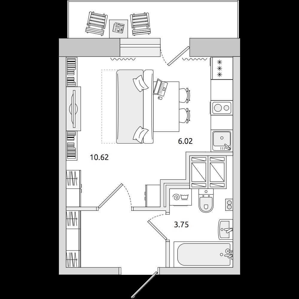 Планировка Студия площадью 28.91 кв.м в ЖК «ЦДС «Приневский»»