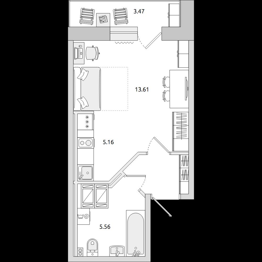 Планировка Студия площадью 30.89 кв.м в ЖК «ЦДС «Приневский»»
