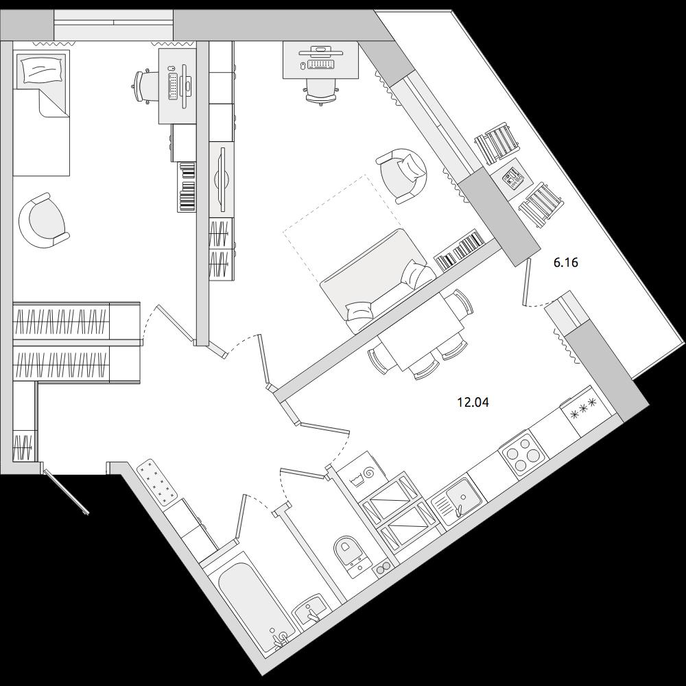 Планировка Двухкомнатная квартира площадью 63.36 кв.м в ЖК «ЦДС «Приневский»»