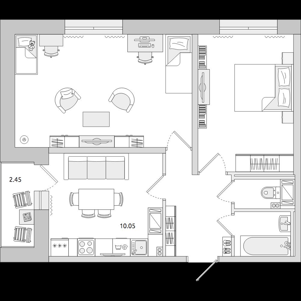Планировка Двухкомнатная квартира площадью 52.23 кв.м в ЖК «ЦДС «Приневский»»